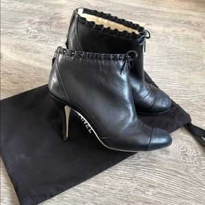 !sold though insta! Chanel black logo booties 38.5